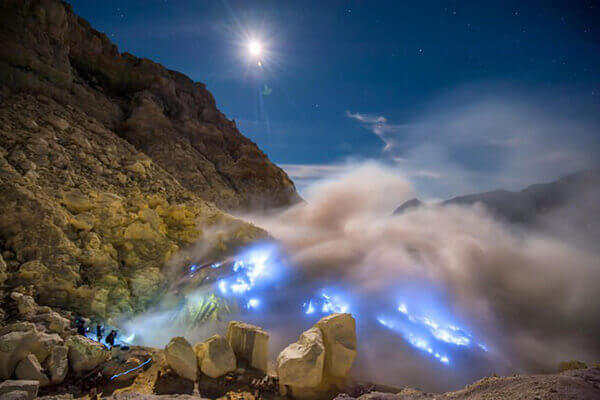 Blue Flame Ijen Crater Volcano