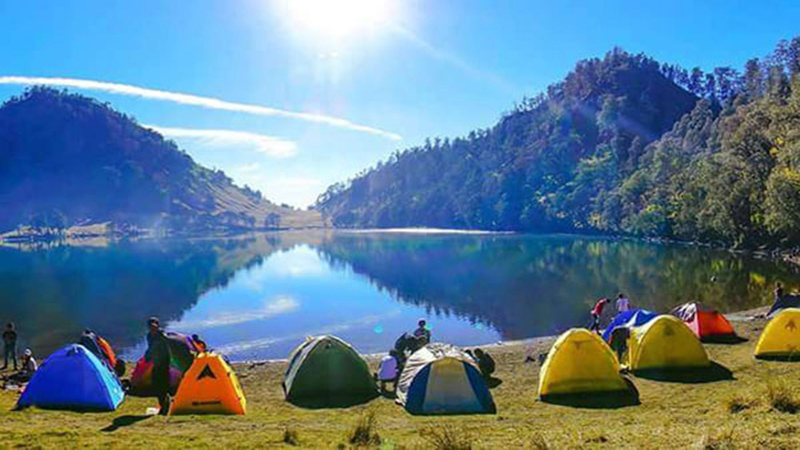 Camping on Kumbolo Lake under Mount Semeru